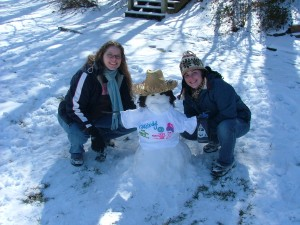 Sharon and I with our snowman buddy