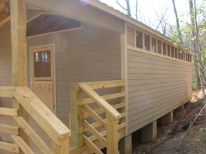 Front and side of a new cabin