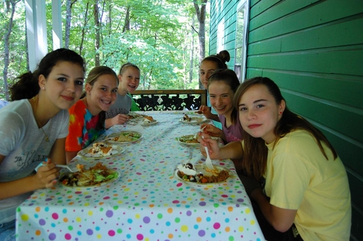 Campers enjoying the cooking skill