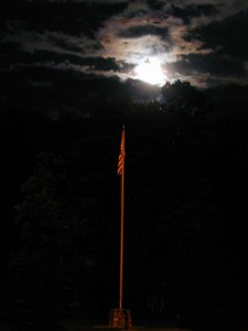 Camp Ridgecrest Middle Green Flag Pole - Full Moon